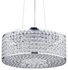 Chrome Light Pendant Crystal Light Pendant Chandeliers Round Drum Crystal Shade