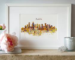 Watercolor Wallpaper For Walls by Charlotte Skyline Watercolor Painting Wall Art Silhouette City