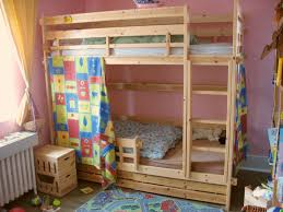 bedroom colorful wooden bunk bed curtains mixed with attrcative