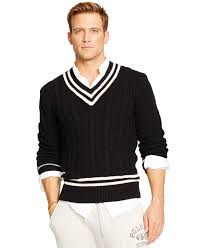 polo ralph lauren cable knit cricket sweater in black for men lyst