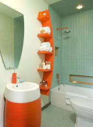 awesome bathroom decor with blue wall tiles orange bathroom