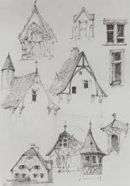 line sketch of runswick bay north yorkshire building unto a hill