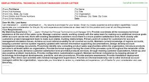 principal technical account manager cover letter