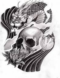 half sleeve red hannya mask tattoo design