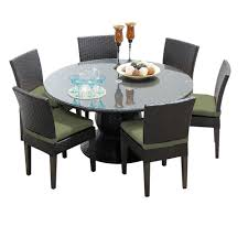 tk classics napa 7 piece wicker dining set with cushions modern