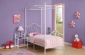 White Twin Canopy Bedroom Set Furniture White Iron Canopy Bed With Pink Blanket And Pillows