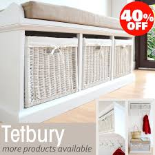 storage unit with wicker baskets tetbury hallway bench white hallway storage bench with cushion