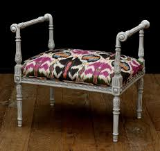 john stephens directoire footstool with gorgeous silk ikat fabric