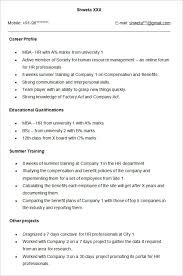 professional fresher resume professional fresher resume template sle for hr imagine