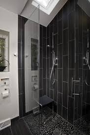 clear glass door black vertical subway tile corner shower design with clear glass