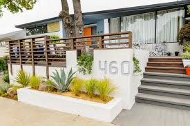 Midcentury Modern Colors - image of front porch mid century modern landscaping how to using a