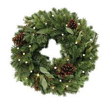 24 cordless pre lit noble fir wreath at brookstone buy now