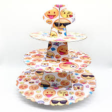 cup cake holder 3 tier theme party cupcake stand emoji smiling faces cupcake