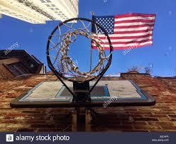 Philadelphia Flag Basketball Hoop And American Flag Philadelphia Stock Photo