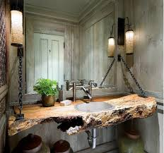wood log as bathroom sink rustic wood big sur and vanities for