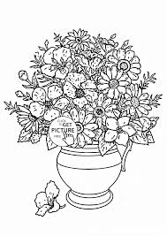 realistic bouquet of flowers in vase coloring page for kids