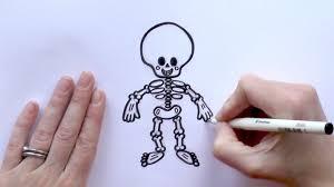 Halloween Skeleton Cartoon How To Draw A Cartoon Skeleton For Halloween Youtube