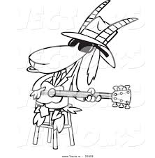 vector of a cartoon blues goat musician playing a guitar