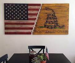 planked wood american gadsden flag wall