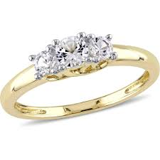 three stone engagement rings miabella 5 8 carat t g w created white sapphire 10kt yellow gold