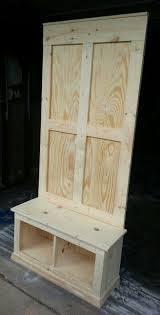 Wood Hall Tree Storage Bench Unpainted Hall Tree Built By My Husband U003d Diy Ideas