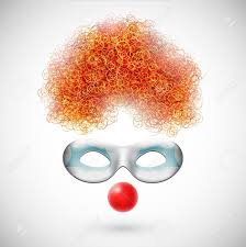 Orange Accessories Accessories Clown Wig Mask And Red Nose Royalty Free Cliparts
