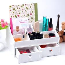 Rotating Desk Organizer Desk White Wooden Box Wash Gargle Bathroom Shelf Storage Box