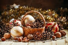 christmas nuts photos christmas wicker basket balls conifer cone nuts holidays