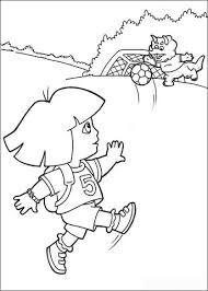 dora soccer player coloring free printable coloring pages