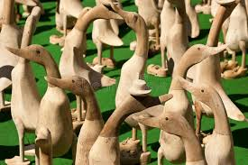 crowd of wooden duck ornaments stock photo image 19370018