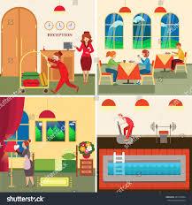 hotel design concept set room service stock vector 481654294