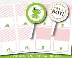 frog baby shower frog baby shower cupcake toppers and buffet cards frog theme baby