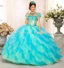 designer crystal princess ball gowns blue quinceanera dresses