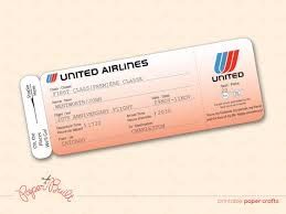 tickets gift card printable united airlines style airline ticket boarding pass gift