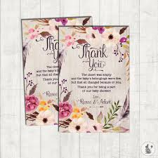 thank you cards baby shower bohemian thank you card rustic boho baby shower printable