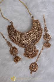plated choker necklace images Gold plated polki choker necklace set by punjabi traditional jpg