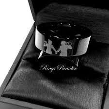 Workout Wedding Rings bear and fox engraved black tungsten wedding bands mens women