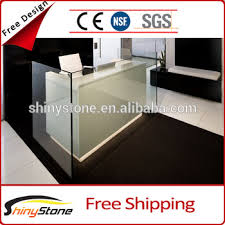 Reception Desk With Glass Display Safe Glass Acrylic Solid Surface Glass Display Reception Desk