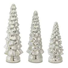 set of 3 battery operated silver mercury glass led lighted