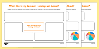 holiday recount planning mind map scottish worksheet