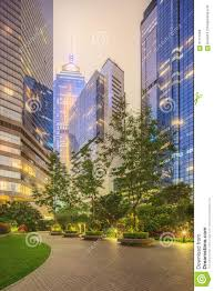 Modern City by Modern City Streets And Office Buildings Hong Kong China Stock