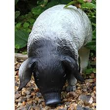 outdoor garden black white pig ornament piglet statue co