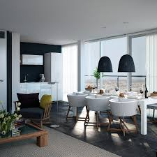 open plan kitchen dining living room modern triple d dark navy and white apartment kitchen dining with views