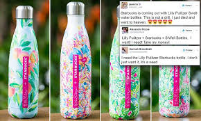 starbucks lilly pulitzer swell starbucks lilly pulitzer bottles are selling out daily mail online