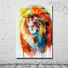 Beautiful Living Room Wall Decor 2017 Beautiful Oil Color Abstract Lion Art Painting Hand Made