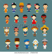traditional costume clipart kid around world pencil and in color