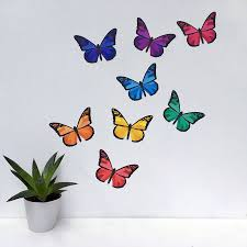 rainbow butterfly wall stickers by chameleon wall art rainbow butterfly wall stickers