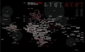 Black Death Map Birth U0026 Death Rate Word Map Visual Ly