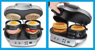 Breakfast Sandwich Toaster Tandem Breakfast Sandwich Maker From Hammacher Schlemmer