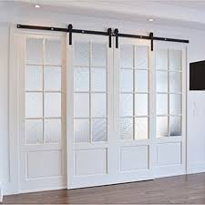 Erias Home Designs Top Of Door Sliding Barn Door Hardware by 5 6 6 6 7 5 8 8 2 10 12 13 15 16ft Winsoon Double Door Kit Sliding